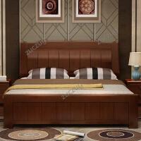 zuczug全实木床1.8米中式简约现代双人床1.5橡胶木气压高箱储物家具婚床