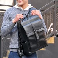 袋鼠日韩版大容量青年双肩包男士背包潮流时尚休闲黑色PU皮书包男