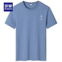 罗蒙男士印花短袖T恤衫2021夏季新款时尚弹力打底衫中青年圆领T恤