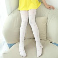 秋季女童连裤袜夏季白色印花舞蹈裤打底裤提花长筒丝袜卡通糖果袜