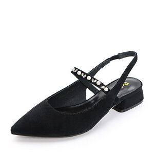 Belle/百丽2018夏新羊绒皮革尖头闪钻珍珠女凉鞋38145BH8