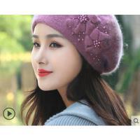 新品韩版时尚甜美可爱珍珠贝雷帽百搭保暖兔毛线帽子女