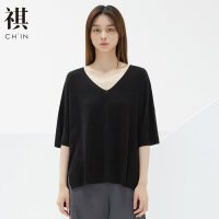 【1件2.5折到手价:62.3】CHIN祺港风夏季新款t恤女短袖针织衫V领上衣半袖宽松毛衣bf
