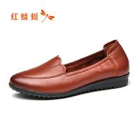 【红蜻蜓限时抢购,领�患�100】红蜻蜓女鞋秋季新款真皮浅口休闲中老年妈妈鞋软底皮鞋女