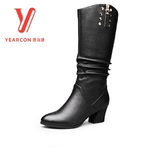 意尔康官方旗舰店女鞋冬季新款圆头粗跟中筒靴金属饰扣装饰靴子女