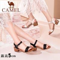 Camel/骆驼女鞋 2018夏季新款 真皮舒适高跟鞋简约韩版休闲粗跟女凉鞋