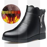 冬季妈妈鞋棉鞋真皮软底中年女靴平底皮鞋短靴加绒保暖中老年女鞋SN3583 黑色加绒款 1820