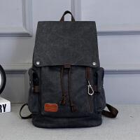 韩版男士背包休闲双肩包男时尚潮流帆布男包学生书包旅行包电脑包 黑色 【灰黑色】