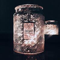 大浮雕玻璃杯进口室内精油香薰香氛蜡烛薰衣草椰子油