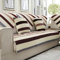 欧式沙发垫布艺防滑坐垫客厅条纹法兰绒全盖真皮沙发巾套定做