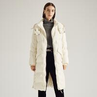 【3折参考价:599】商场同款迪赛尼斯2020冬季新款中长款纯色优雅白鸭绒直筒羽绒服女