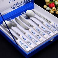 不锈钢餐具筷子勺子刀叉三四件套装家用礼盒装青花瓷餐具套装 iw9