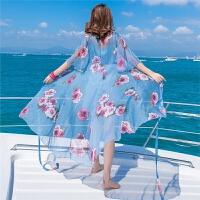 2018夏季新款波西米亚雪纺飘逸显瘦两件套连衣裙海边度假沙滩长裙