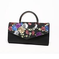 女士包包新款潮单肩斜跨民族风手拿时尚大气手提皮包晚宴女包 玫瑰