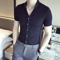 夏季新款白衬衫男短袖修身商务韩版潮流帅气纯色时尚男士格子衬衣