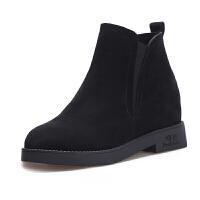 短靴女加绒2018秋冬季新款磨砂皮坡跟单靴鞋厚底内增高平底棉靴子