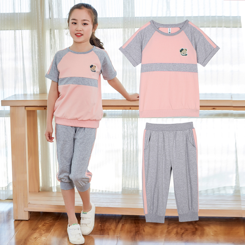 女童运动套装夏装韩版潮衣短袖中大童夏季时尚休闲两件套