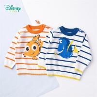 【2件3折到手价:61.5】迪士尼Disney童装 春季新品男童毛衣卡通小丑鱼纯棉上衣卫衣宝宝肩开外出针织衫191S1