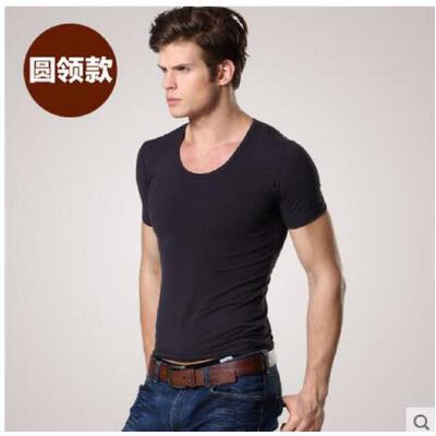 男士纯棉内衣短袖V领T恤 纯色紧身修身汗衫打底衫 品质保证 售后无忧 支持货到付款