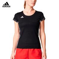 阿迪达斯adidas羽毛球服2018新款女运动跑步休闲短袖T恤