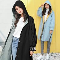 2018春秋季新款韩版学院风宽松收腰风衣女B中长款两面穿外套