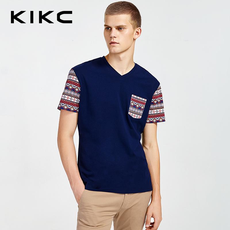 kikc男装 2017专柜同款新品韩V领休闲上衣体恤-