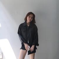 冬季chic短款潮酷气质机车皮衣夹克女日系学生bf宽松小皮衣外套 黑色