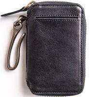 头层牛皮汽车钥匙包男士真皮钥匙扣带卡位 可放驾照Q56 黑色(善于接受真皮的不) (请阅读温馨提示)