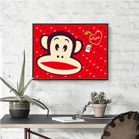 diy数字油画手工油彩填色儿童客厅卧室房间装饰画卡通动物2030 粉红色 3016大嘴猴 40*50【一个三份颜料 订