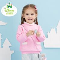 迪士尼Disney童装女童棉衣秋冬新款卫衣后开扣保暖宝宝外出上衣173S956