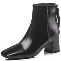 真皮女靴冬秋�窝�2018新款短靴女士高跟鞋百搭粗跟方�^冬季女鞋子