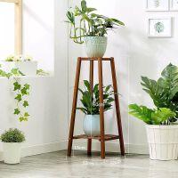 阳台客厅花架子多层室内竹子实木单个绿萝吊兰置物架简约现代 楠竹梯形花架 2层75高