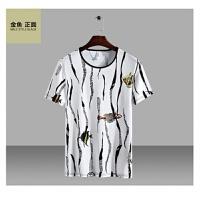 夏简约潮胖子特大号男装加肥加大码圆领冰丝透气男士短袖T恤 6X