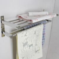 浴室浴巾架卫生间不锈钢304毛巾架置物架带双杆人工抛光保用5年