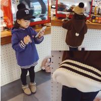 韩版冬季新款女童加绒加厚连帽卫衣字母印花可爱套头外套A1-A20