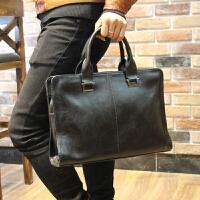 定型商务包男包公文包男士手提包横款休闲男式皮包电脑包韩版背包 黑色