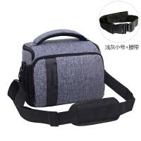 佳能相机包 单反单肩摄影包 700D750D800D 70D80D200D00D便携M 浅灰色 小号+腰带