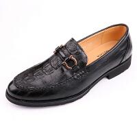 男士英伦鳄鱼纹尖头日常上班皮鞋潮流韩版发型师套脚一脚蹬内增高 黄色 正常版
