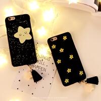 iPhone7手机壳情侣6s可爱黑色星星5s磨砂半包苹果6plus硬壳