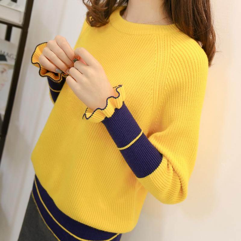 春季韩版2018新款时尚毛衣女士短款套头针织打底衫加厚线衣 发货周期:一般在付款后2-90天左右发货,具体发货时间请以与客服商的时间为准