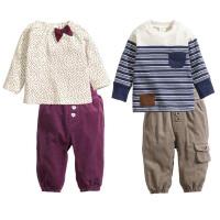 童装新生婴儿男宝宝秋季套装灯芯绒长裤纯棉条纹卫衣