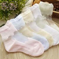 女童短袜子夏季玻璃冰丝水晶袜儿童缕空网眼蕾丝花边薄款