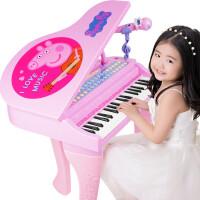 ?儿童电子琴话筒音乐宝宝玩具小钢琴3-6岁女孩小猪佩奇初学? 公主粉 耳机高配版 耳机-话筒-凳子等七件套
