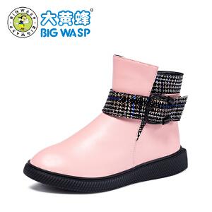 大黄蜂童鞋 女童靴子2018秋冬季新款儿童中筒靴女孩休闲皮靴黑色