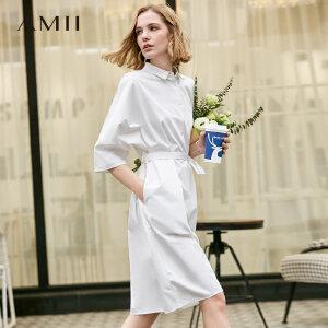 【到手价156.9元】Amii极简设计感赫本风连衣裙2019夏新款配腰带显瘦清爽棉质衬衫裙