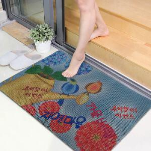 享家蜂窝印花防滑吸水地垫门垫45*75�M耐磨门垫浴室客厅飘窗脚垫