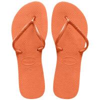 havaianas女款时尚短带人字拖Flat平跟哈瓦那凉拖鞋粉橙色0666