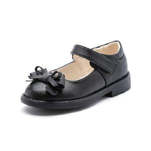 比比我女童皮鞋2017秋新款皮鞋黑色公主鞋学生单鞋儿童女皮鞋