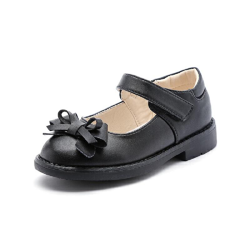 比比我女童皮鞋2017秋新款皮鞋黑色公主鞋学生单鞋儿童女皮鞋【每满100减50】