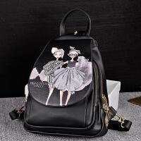 双肩包女韩版印花小背包潮皮包学院风两用女士旅行包休闲书包